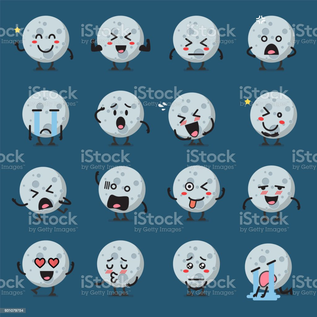 Moon character emoticon set vector art illustration