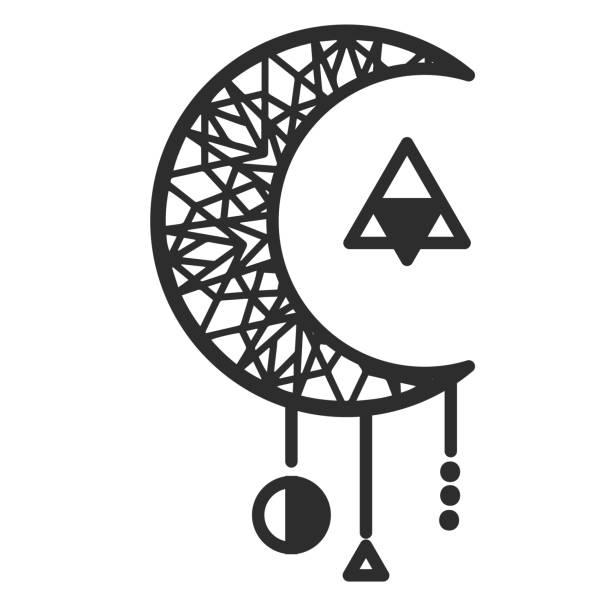 ムーン サークル三角タトゥー デザイン ベクトル画像 - 月のタトゥー点のイラスト素材/クリップアート素材/マンガ素材/アイコン素材