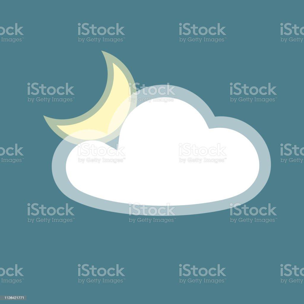 Ilustración de Luna Nube Icono App Simple Aislada Símbolo