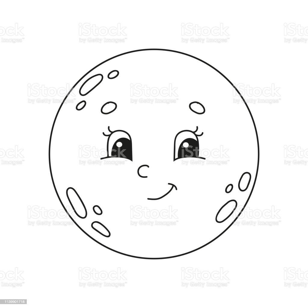 Ilustración De Luna Libro Para Colorear Para Niños Carácter