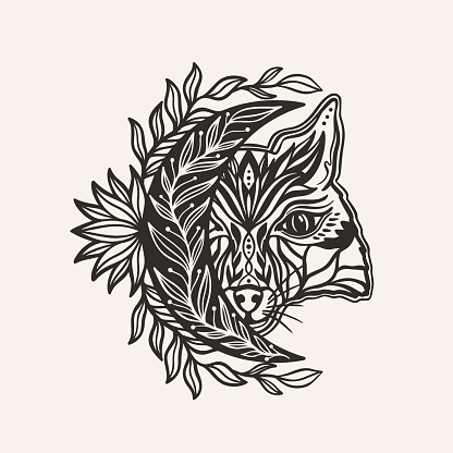 Moon crescent totemic fox animal mandala.Astrology boho witch symbol amulet.Sacred mystic decoration trendy style