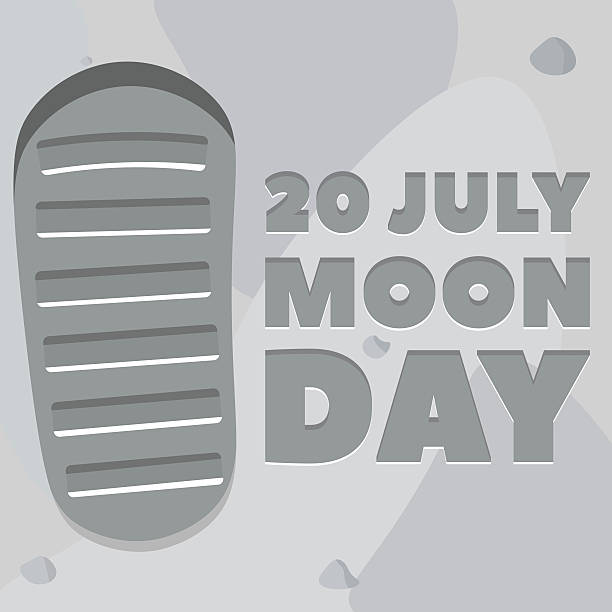 Moon day poster Moon day poster. Footprint, lunar soil. Vector, eps10. moon surface stock illustrations