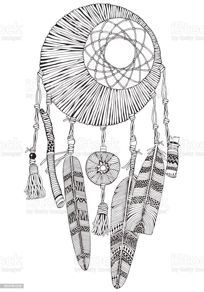 Ilustración De Atrapasueños Con Plumas Y Ramas De La Luna Estilo De
