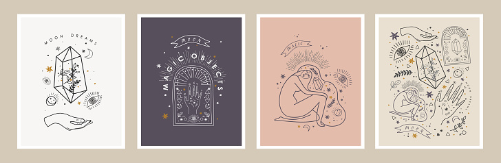 Moon dreams and magic objects. Vector illustrations of crystal, woman, eye, hand, plant, star for astrology, esoteric and horoscope