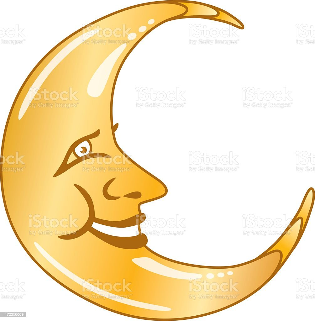 Half Crescent Moon With Face Tattoo: Moon Face Stock Illustration