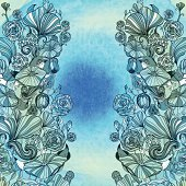 EPS10! Abstract floral pattern on water color background. Decorative border. Abstract floral invitation card. Template.