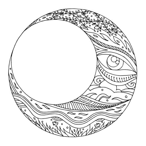 moon hand drawing vector  illustration design - moon tattoos stock illustrations, clip art, cartoons, & icons