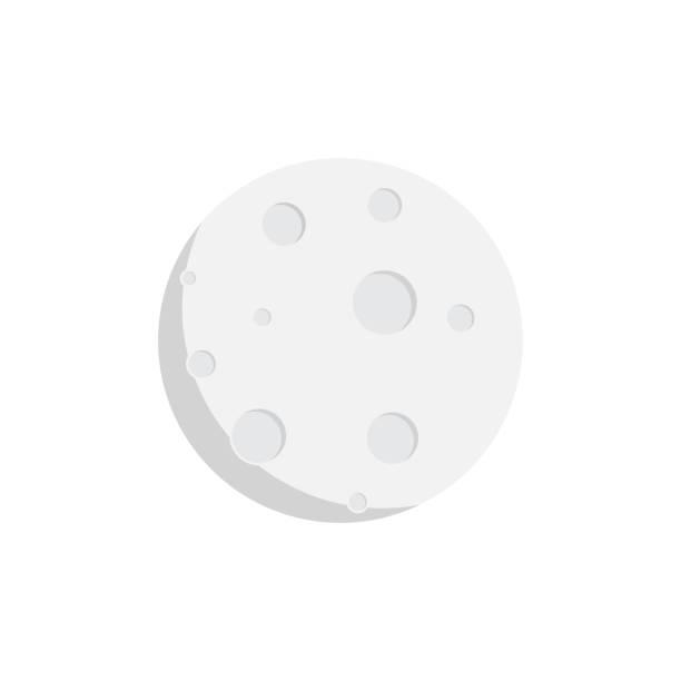 moon icon flat design isolated white background, flat design moon icon vector illustration moon surface stock illustrations
