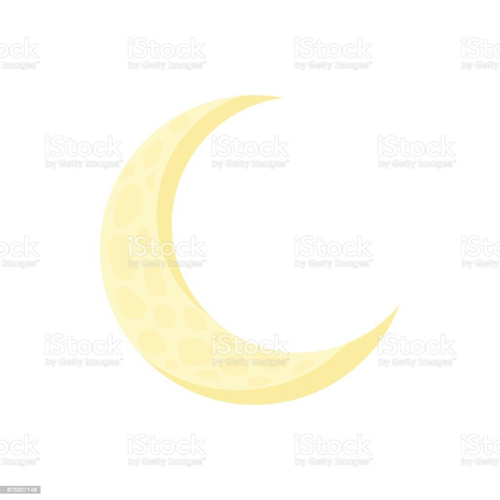 Moon icon in cartoon style vector art illustration