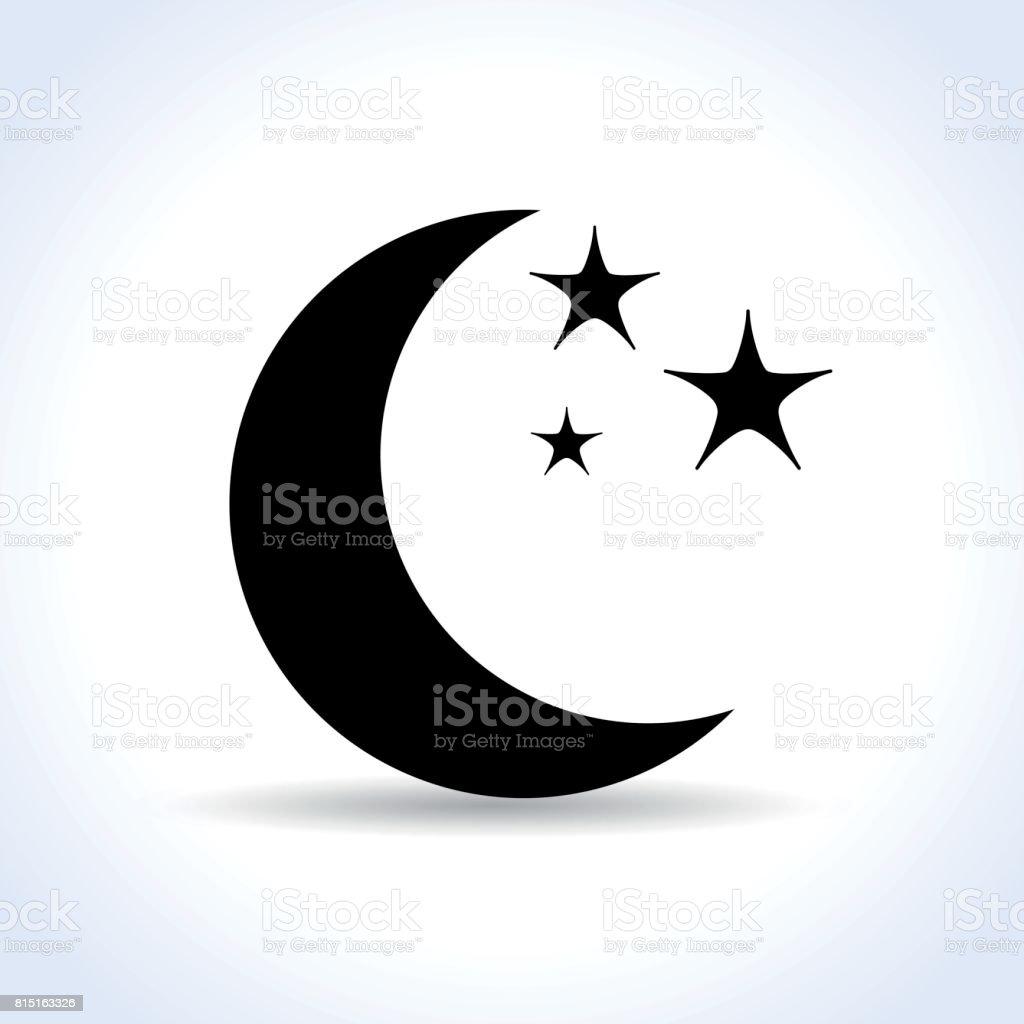 ícone de lua no fundo branco - ilustração de arte em vetor