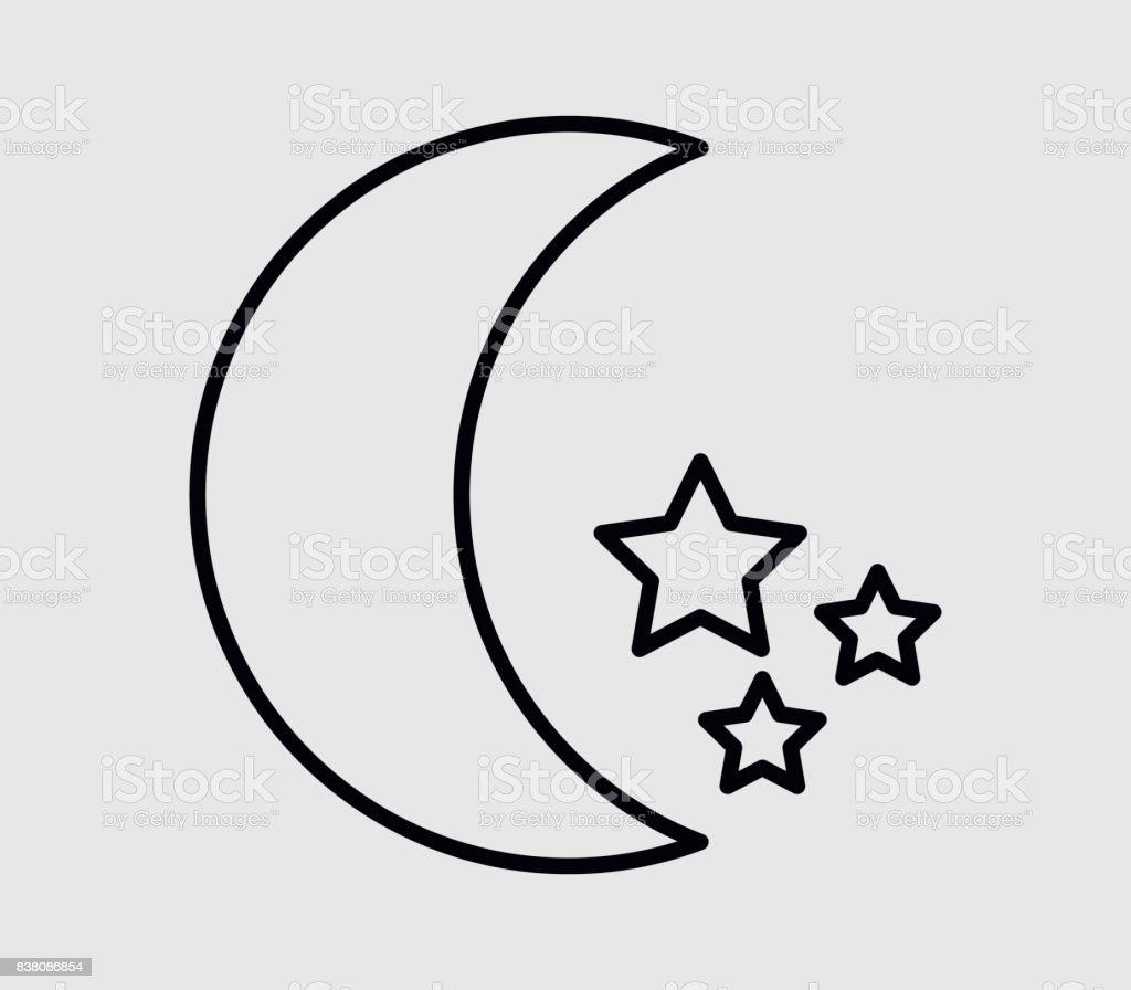 Moon icon with stars vector art illustration
