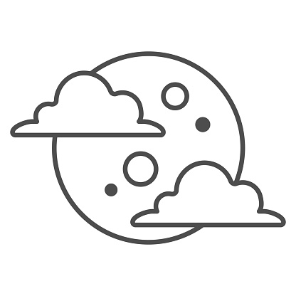 Moon in cloud thin line icon, weather forecast concept, night sky sign on white background, full moon in cloudy sky icon in outline style for mobile concept and web design. Vector graphics.
