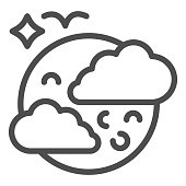 Moon in clouds and bird line icon, halloween concept, full moon in sky sign on white background, halloween night icon in outline style for mobile concept and web design. Vector graphics
