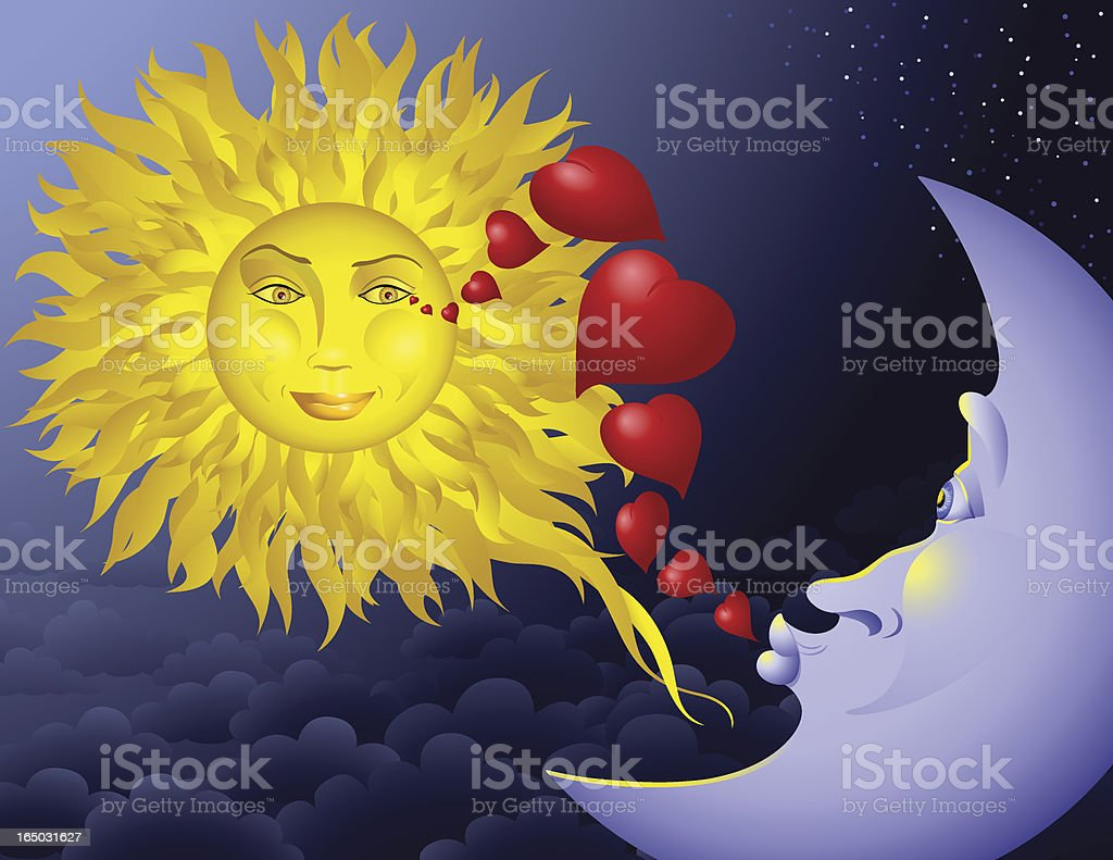 Moon Loves Sun royalty-free moon loves sun stock vector art & more images of blowing a kiss