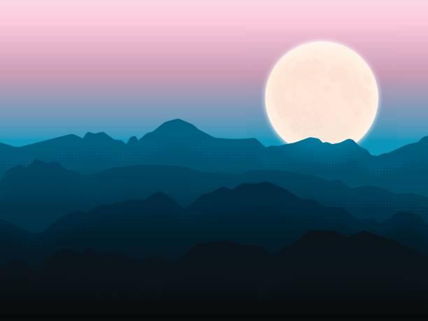 bildbanksillustrationer, clip art samt tecknat material och ikoner med månen berg - pink sunrise