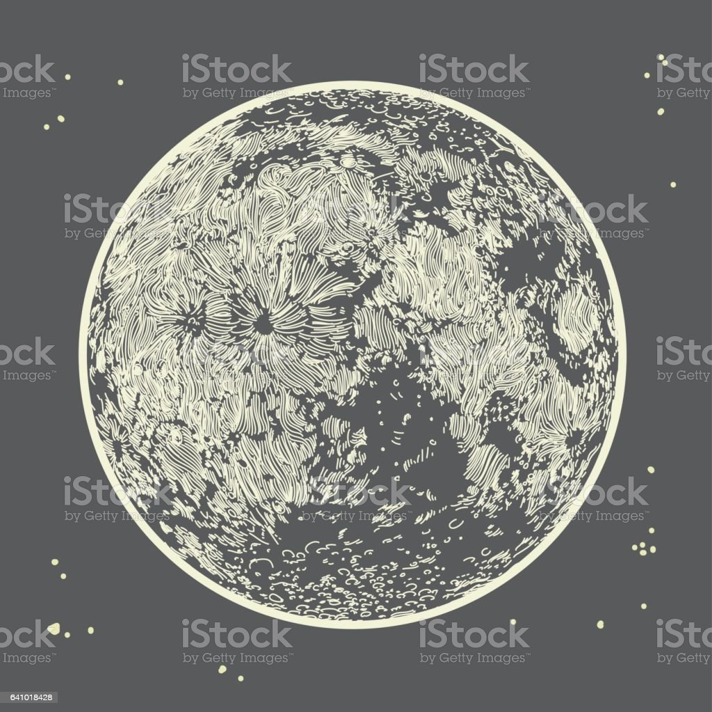 Moon on Grey Sky - ilustração de arte em vetor