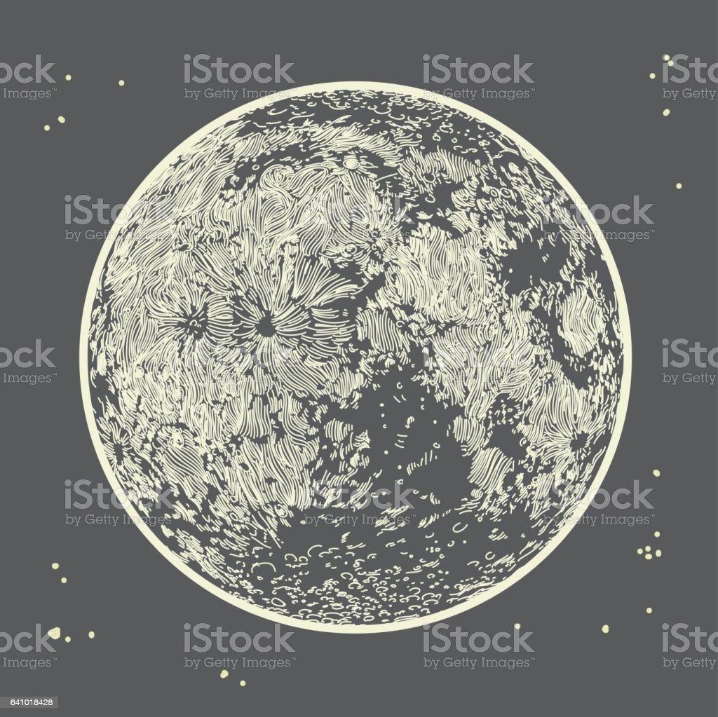 Moon on Grey Sky vector art illustration