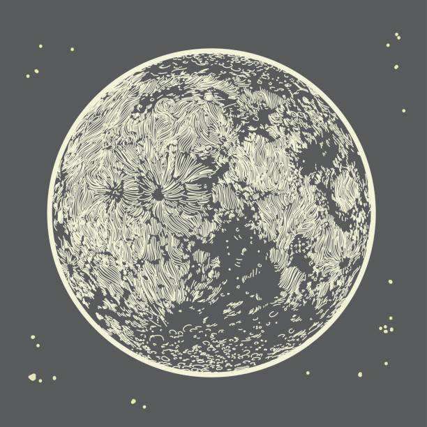 Moon on Grey Sky vector art illustration