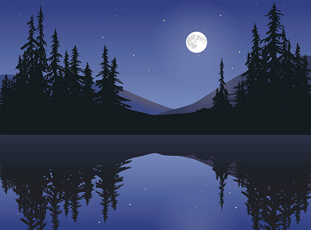 Moon Over Calm Lake The bright white moon rising over a calm mountain lake. treelined stock illustrations