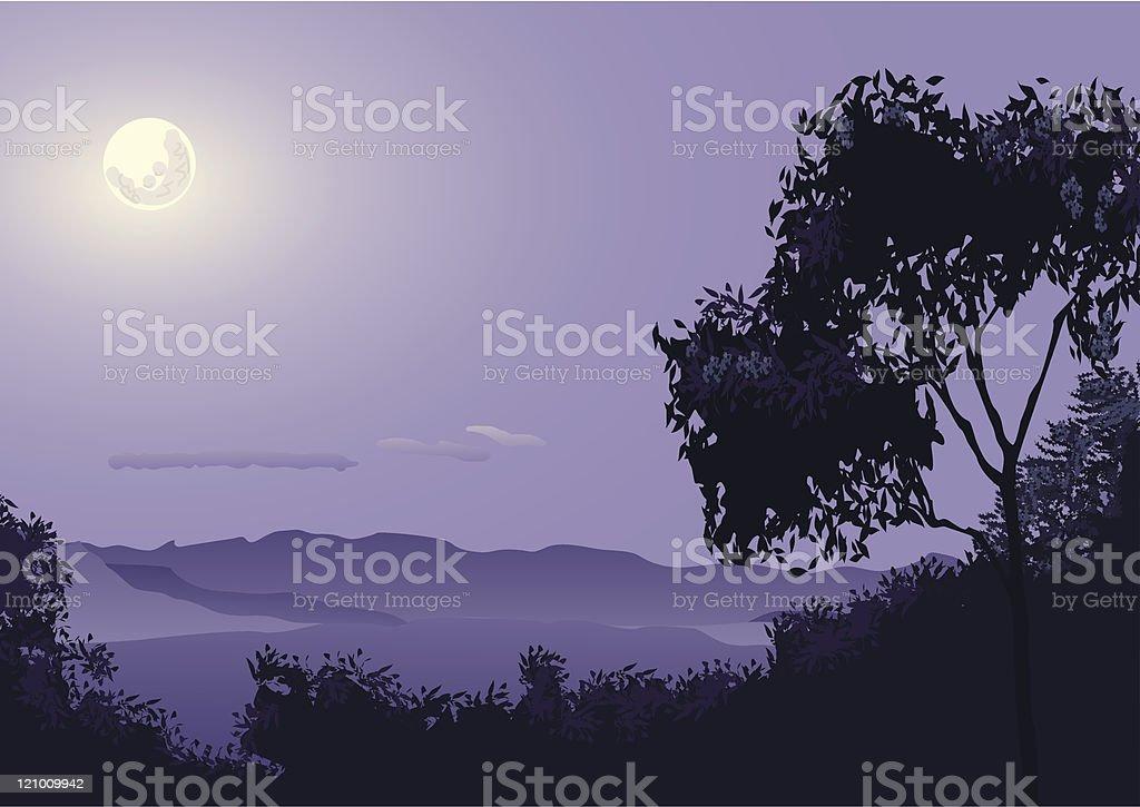 Moon over the Lost World vector art illustration