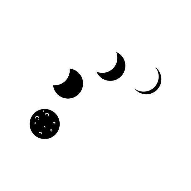 月相天文學圖示集合向量例證在白色背景。 - 新月 幅插畫檔、美工圖案、卡通及圖標