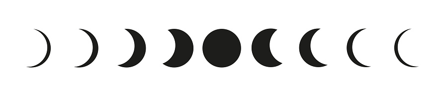 Moon phases astronomy icons set on white backgound