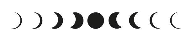 illustrazioni stock, clip art, cartoni animati e icone di tendenza di le icone astronomiche delle fasi lunari ambientate sul backgound bianco - luna gibbosa