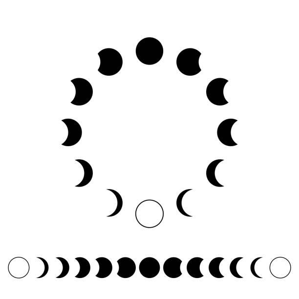 illustrazioni stock, clip art, cartoni animati e icone di tendenza di astronomia delle fasi lunari. le lune in un cerchio sono in una riga imposta illustrazione vettoriale. - luna gibbosa