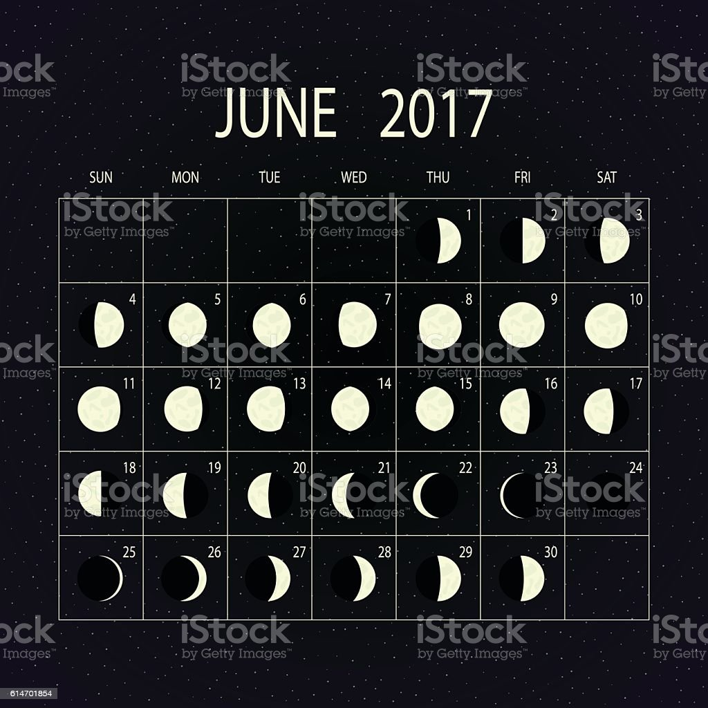 June Calendar With Moon Phases : Moon phases calendar for june vector illustration