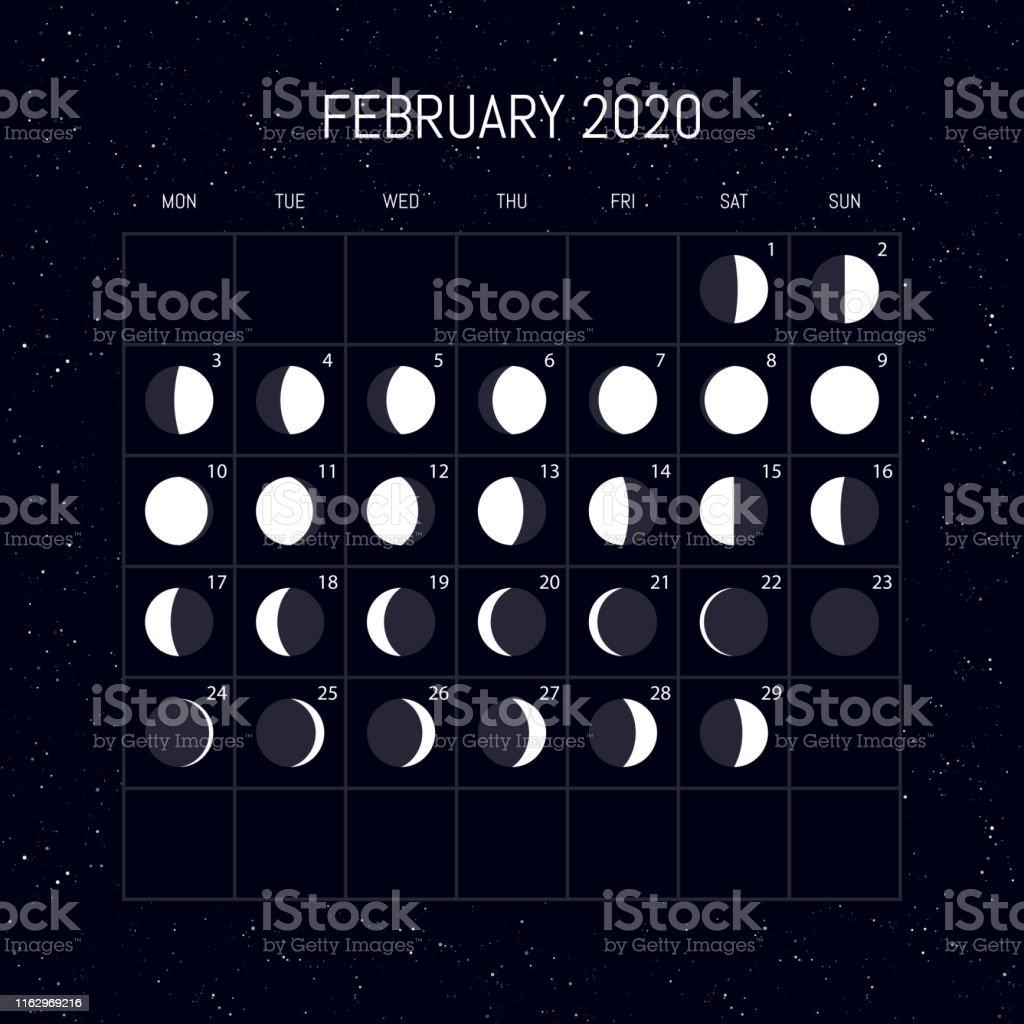 Calendario Lunar Febrero 2020.Ilustracion De Calendario De Fases Lunares Para El Ano 2020