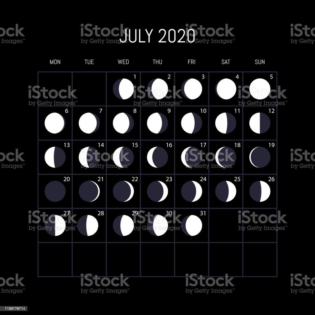 Calendrier Lunaire Juillet 2020.Calendrier Des Phases De Lune Pour Lannee 2020 Juillet