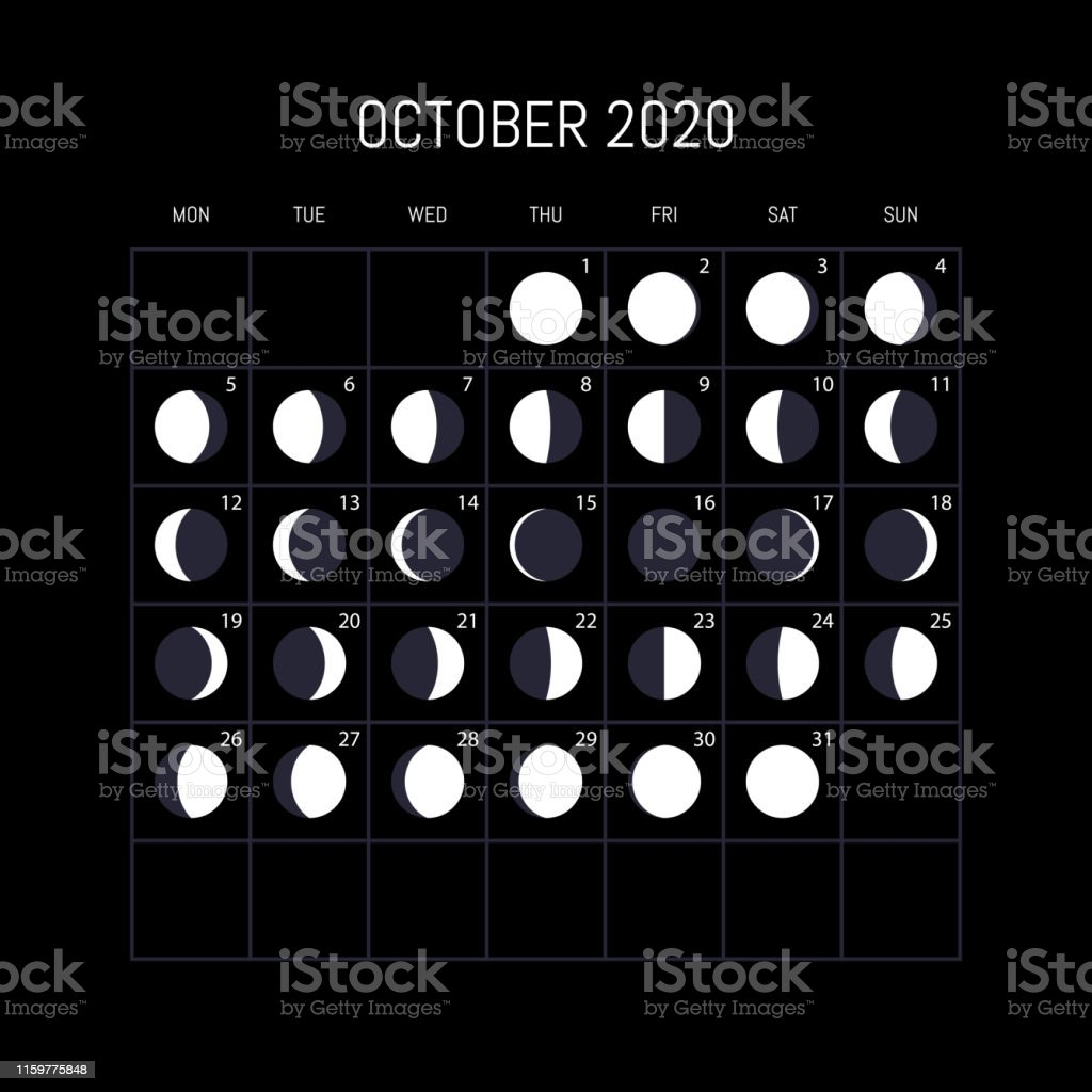 Moon Phase Calendar October 2020 Moon Phases Calendar For 2020 Year October Night Background Design