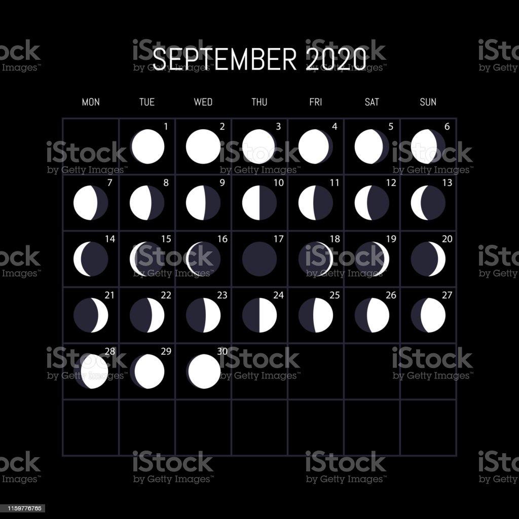 Calendrier Lune 2020.Calendrier Des Phases De Lune Pour Lannee 2020 Septembre