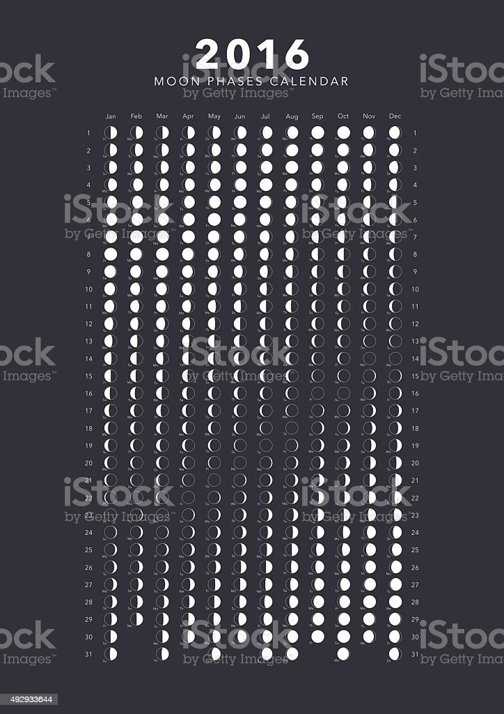 Moon Phases Calendar.2016 Moon Phases Calendar Vector Stock Illustration Download Image Now