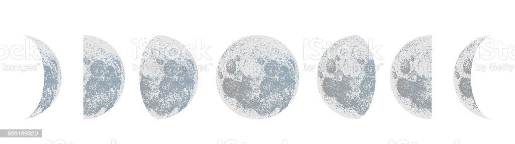 moon phases dot vector background vector art illustration