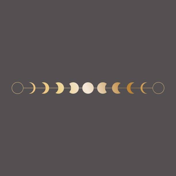月相圖示, 邊框, 波西米亞風格的向量插圖。黑色背景金黃 - 月亮 幅插畫檔、美工圖案、卡通及圖標