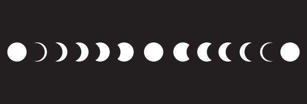 Moon phases icon on black background. Vector Illustration Moon phases icon on black background. Vector Illustration moon stock illustrations