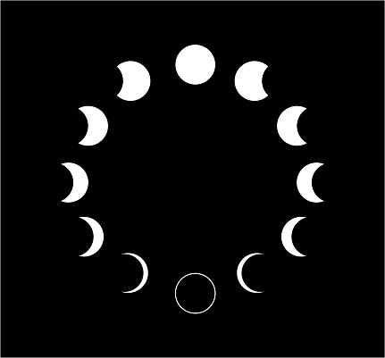 Moon phases icon on black background. Vector Illustration