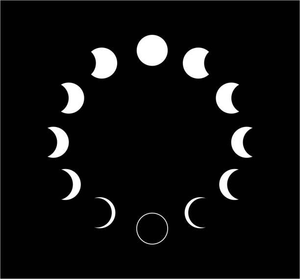 黑色背景上的月亮相圖示。向量插圖 - 新月 幅插畫檔、美工圖案、卡通及圖標