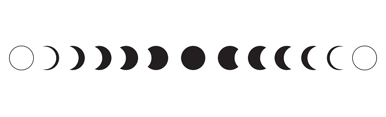 Moon phases icon on white background. Vector Illustration