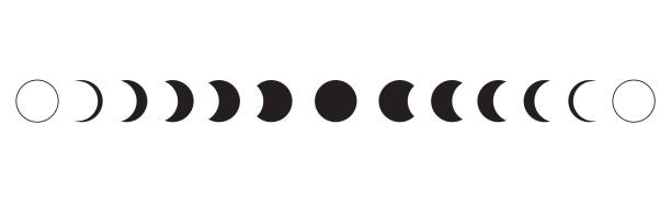 Moon phases icon on white background. Vector Illustration Moon phases icon on white background. Vector Illustration moon surface stock illustrations
