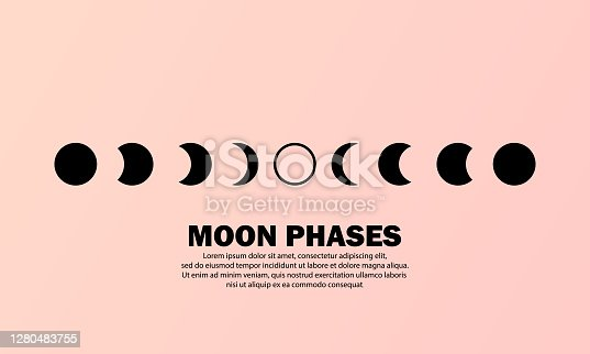 istock Moon phases icon. The whole cycle from new moon to full moon. Night space astronomy concept. Vector EPS 10. Isolated on background 1280483755