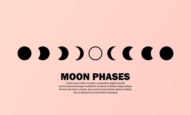 illustrazioni stock, clip art, cartoni animati e icone di tendenza di icona delle fasi lunari. l'intero ciclo dalla luna nuova alla luna piena. concetto di astronomia dello spazio notturno. vettore eps 10. isolato sullo sfondo - luna gibbosa