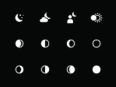 Moon phases icons on black background.