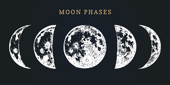 Moon phases image on black background. Hand drawn vector illustration of cycle from new to full moon