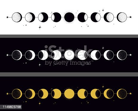 Moon phases. Hand drawn illustration.