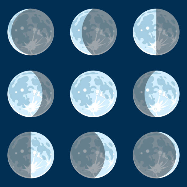 Moon Phases Vecter illustration of moon phases moon surface stock illustrations