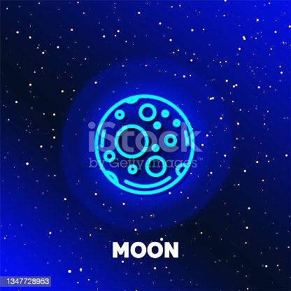 istock Moon planet neon icon design. Space and planets and universe concept. 1347728953