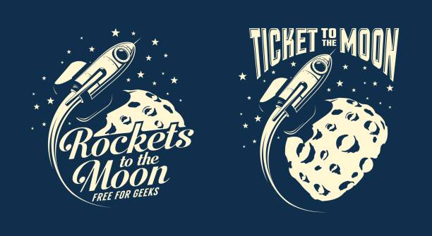 Bекторная иллюстрация Moon posters with a flying rocket
