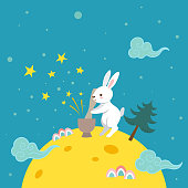 Moon, rabbit,holiday,event,tale,star,tradition,pine,tree,Mid autumn festival, Chuseok,design,template, background